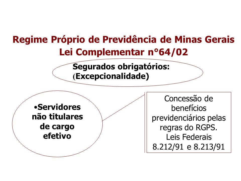 Regime Próprio de Previdência de Minas Gerais Lei Complementar n°64/02 Segurados obrigatórios: ( Excepcionalidade) Servidores não titulares de cargo e
