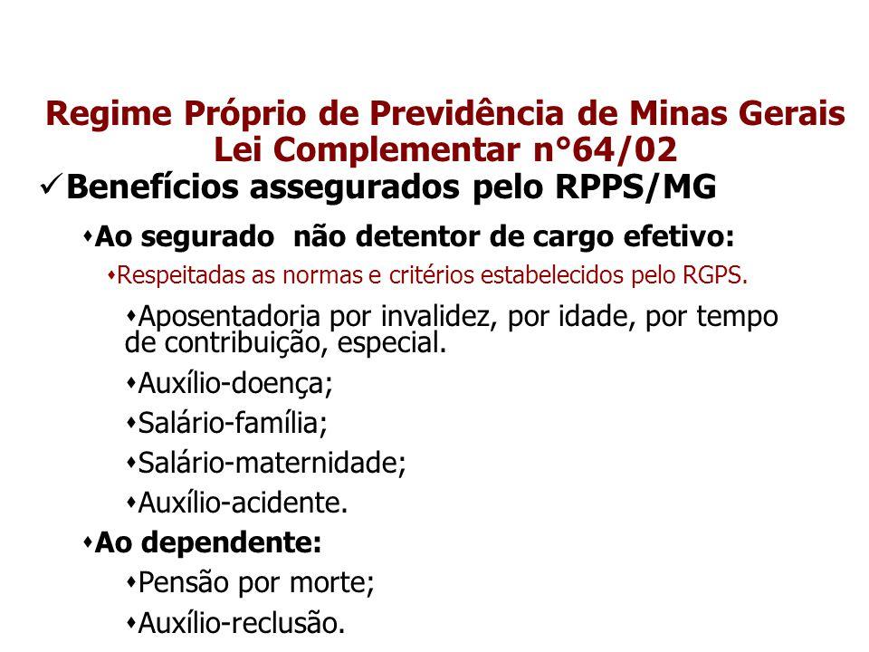 Regime Próprio de Previdência de Minas Gerais Lei Complementar n°64/02 Benefícios assegurados pelo RPPS/MG  Ao segurado não detentor de cargo efetivo