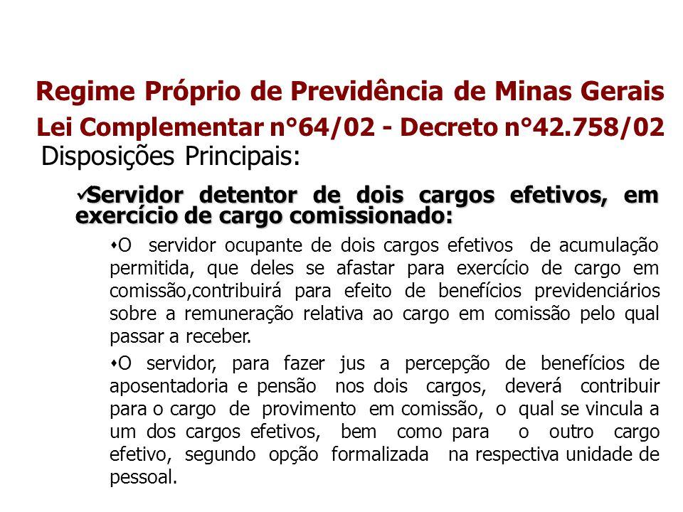 Regime Próprio de Previdência de Minas Gerais Lei Complementar n°64/02 - Decreto n°42.758/02 Disposições Principais: Servidor detentor de dois cargos