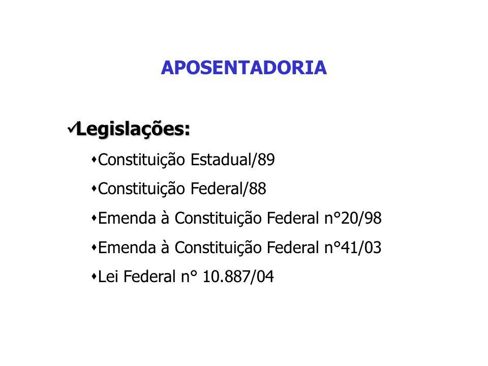 APOSENTADORIA Legislações: Legislações:  Constituição Estadual/89  Constituição Federal/88  Emenda à Constituição Federal n°20/98  Emenda à Consti