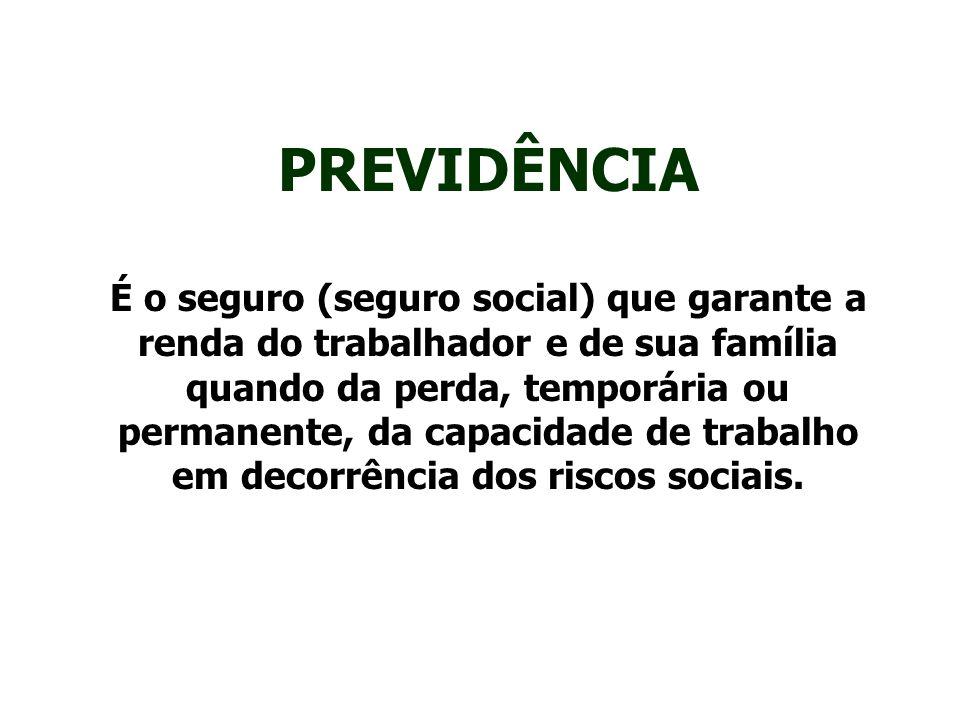 PREVIDÊNCIA É o seguro (seguro social) que garante a renda do trabalhador e de sua família quando da perda, temporária ou permanente, da capacidade de