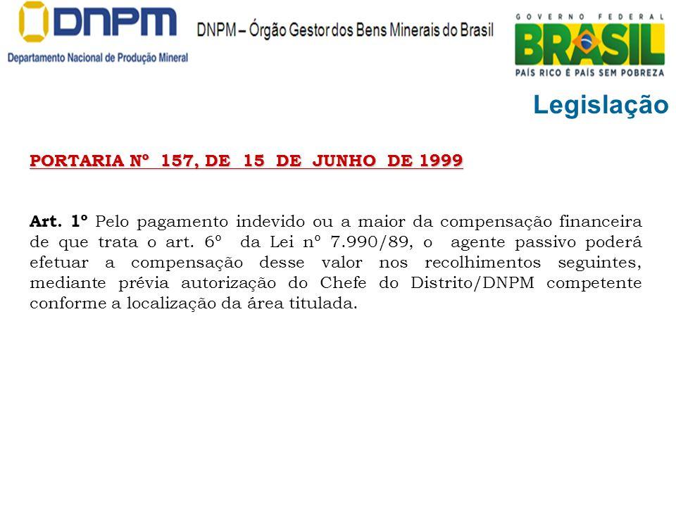 Legislação PORTARIA Nº 157, DE 15 DE JUNHO DE 1999 Art. 1º Pelo pagamento indevido ou a maior da compensação financeira de que trata o art. 6º da Lei