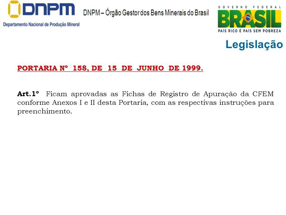 Legislação PORTARIA Nº 158, DE 15 DE JUNHO DE 1999. Art.1º Ficam aprovadas as Fichas de Registro de Apuração da CFEM conforme Anexos I e II desta Port