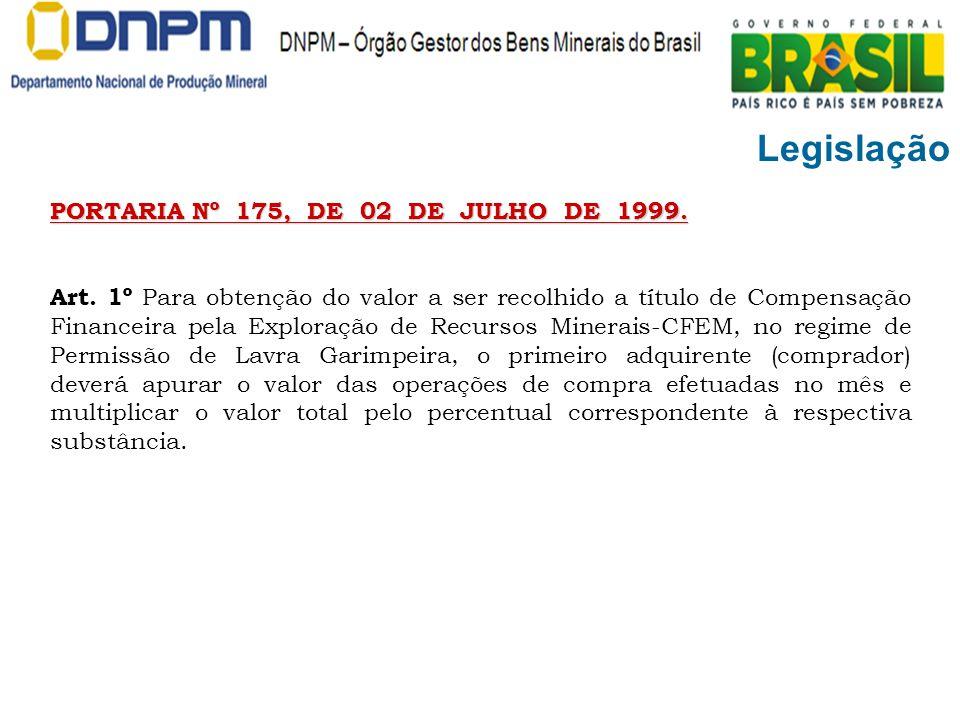 Legislação PORTARIA Nº 175, DE 02 DE JULHO DE 1999. Art. 1º Para obtenção do valor a ser recolhido a título de Compensação Financeira pela Exploração