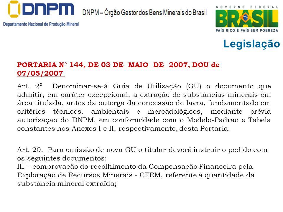Legislação PORTARIA N° 144, DE 03 DE MAIO DE 2007, DOU de 07/05/2007 Art. 2º Denominar-se-á Guia de Utilização (GU) o documento que admitir, em caráte