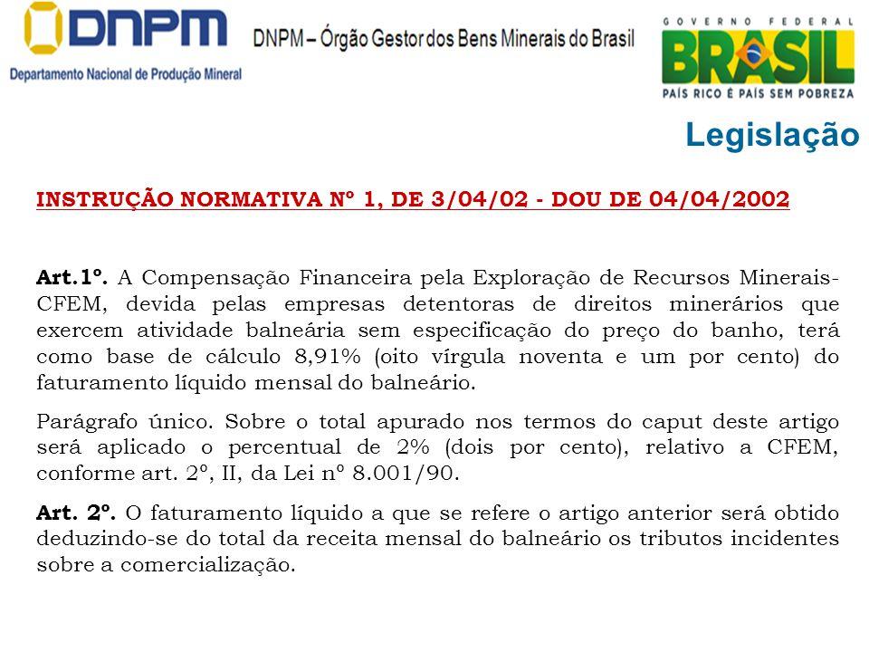 Legislação INSTRUÇÃO NORMATIVA Nº 1, DE 3/04/02 - DOU DE 04/04/2002 Art.1º. A Compensação Financeira pela Exploração de Recursos Minerais- CFEM, devid