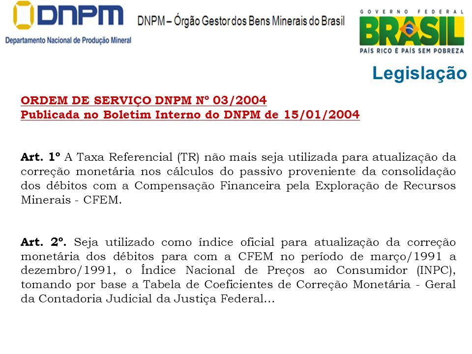 Legislação ORDEM DE SERVIÇO DNPM Nº 03/2004 Publicada no Boletim Interno do DNPM de 15/01/2004 Art. 1º A Taxa Referencial (TR) não mais seja utilizada