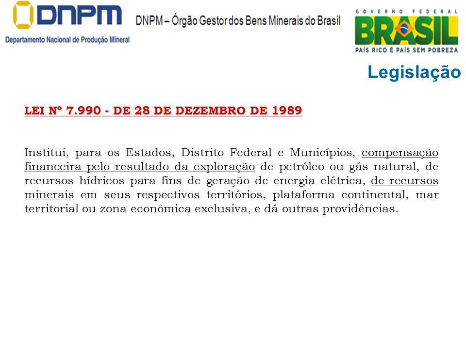 Legislação LEI Nº 7.990 - DE 28 DE DEZEMBRO DE 1989 Institui, para os Estados, Distrito Federal e Municípios, compensação financeira pelo resultado da