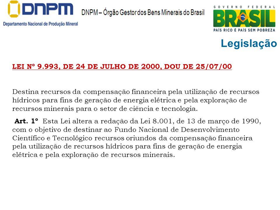 Legislação LEI Nº 9.993, DE 24 DE JULHO DE 2000, DOU DE 25/07/00 Destina recursos da compensação financeira pela utilização de recursos hídricos para