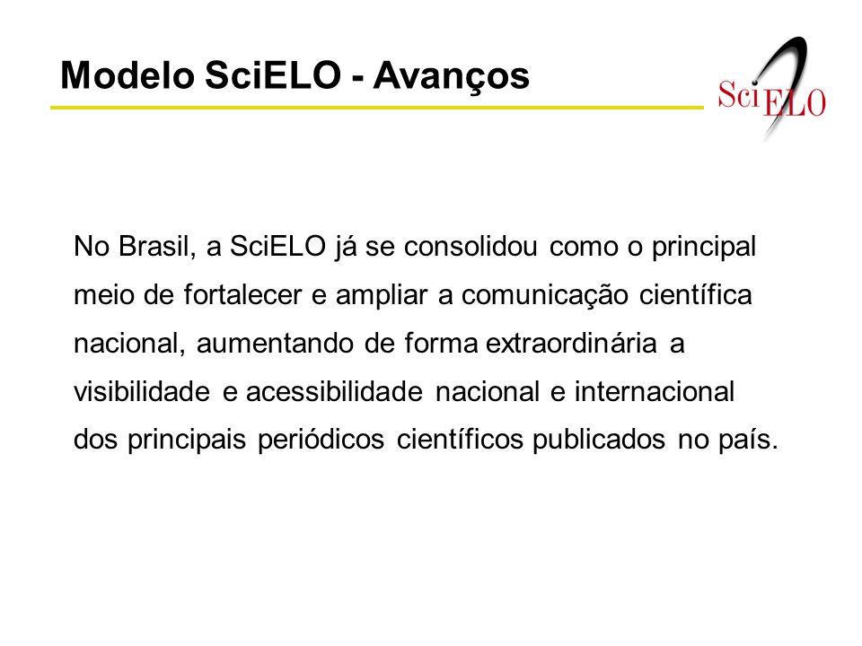 Modelo SciELO - Avanços No Brasil, a SciELO já se consolidou como o principal meio de fortalecer e ampliar a comunicação científica nacional, aumentan