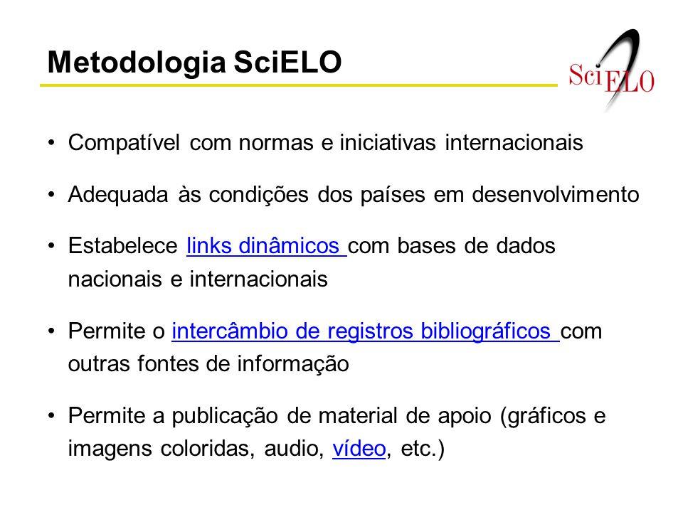 Metodologia SciELO Compatível com normas e iniciativas internacionais Adequada às condições dos países em desenvolvimento Estabelece links dinâmicos c