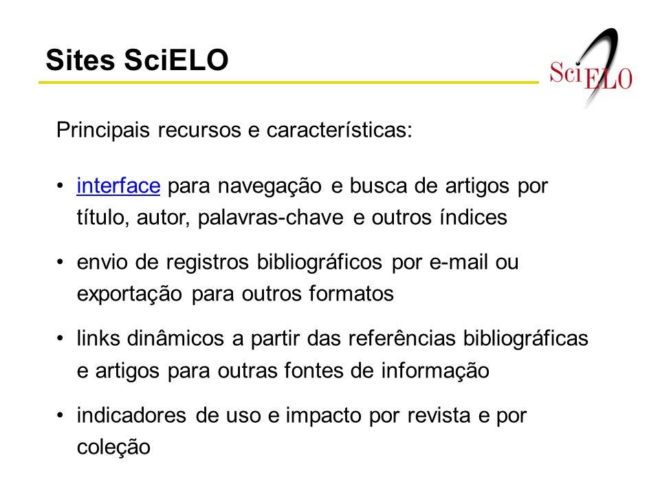 Sites SciELO Principais recursos e características: interface para navegação e busca de artigos por título, autor, palavras-chave e outros índicesinte