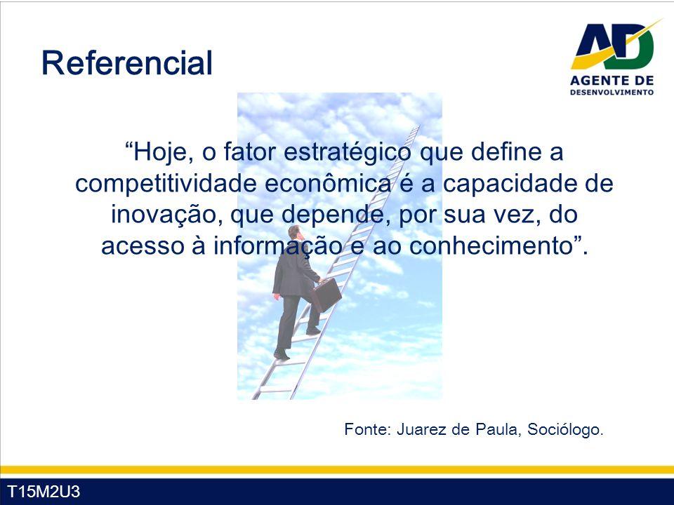 """T15M2U3 Referencial """"Hoje, o fator estratégico que define a competitividade econômica é a capacidade de inovação, que depende, por sua vez, do acesso"""