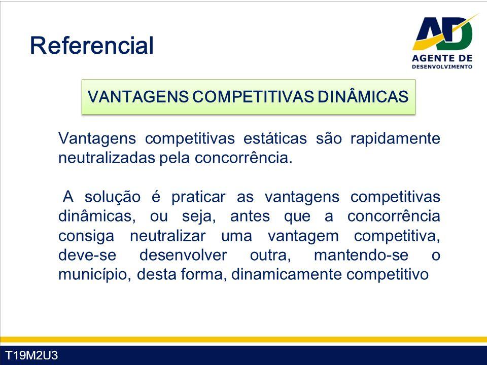 T19M2U3 Vantagens competitivas estáticas são rapidamente neutralizadas pela concorrência. A solução é praticar as vantagens competitivas dinâmicas, ou