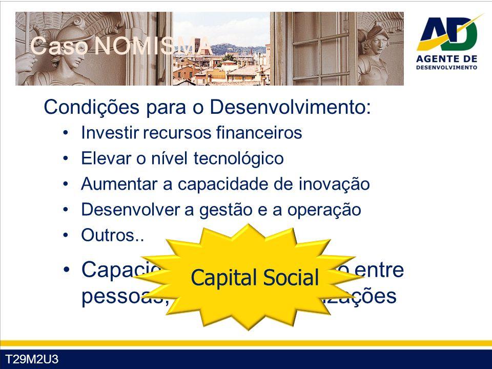 T29M2U3 Caso NOMISMA Condições para o Desenvolvimento: Investir recursos financeiros Elevar o nível tecnológico Aumentar a capacidade de inovação Dese