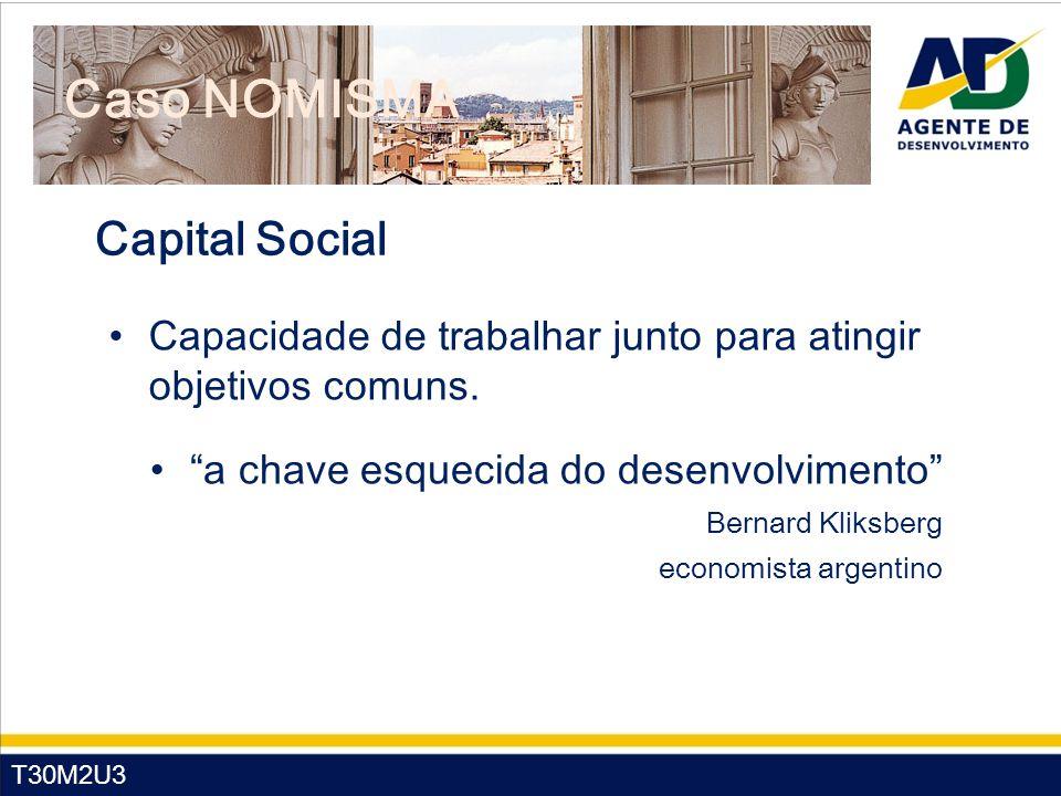 """T30M2U3 Caso NOMISMA Capital Social Capacidade de trabalhar junto para atingir objetivos comuns. """"a chave esquecida do desenvolvimento"""" Bernard Kliksb"""