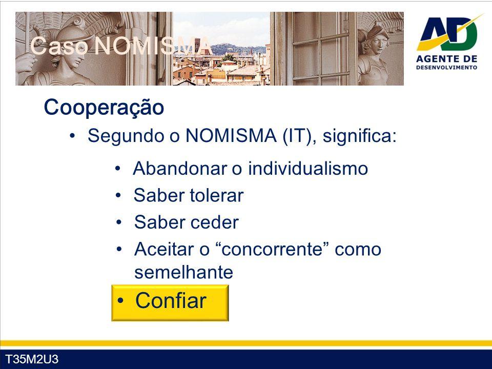 "T35M2U3 Caso NOMISMA Segundo o NOMISMA (IT), significa: Abandonar o individualismo Saber tolerar Saber ceder Aceitar o ""concorrente"" como semelhante C"