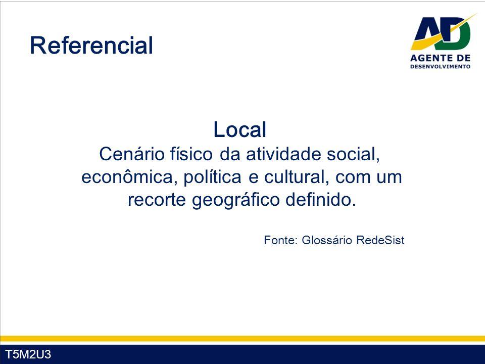 T5M2U3 Referencial Local Cenário físico da atividade social, econômica, política e cultural, com um recorte geográfico definido. Fonte: Glossário Rede