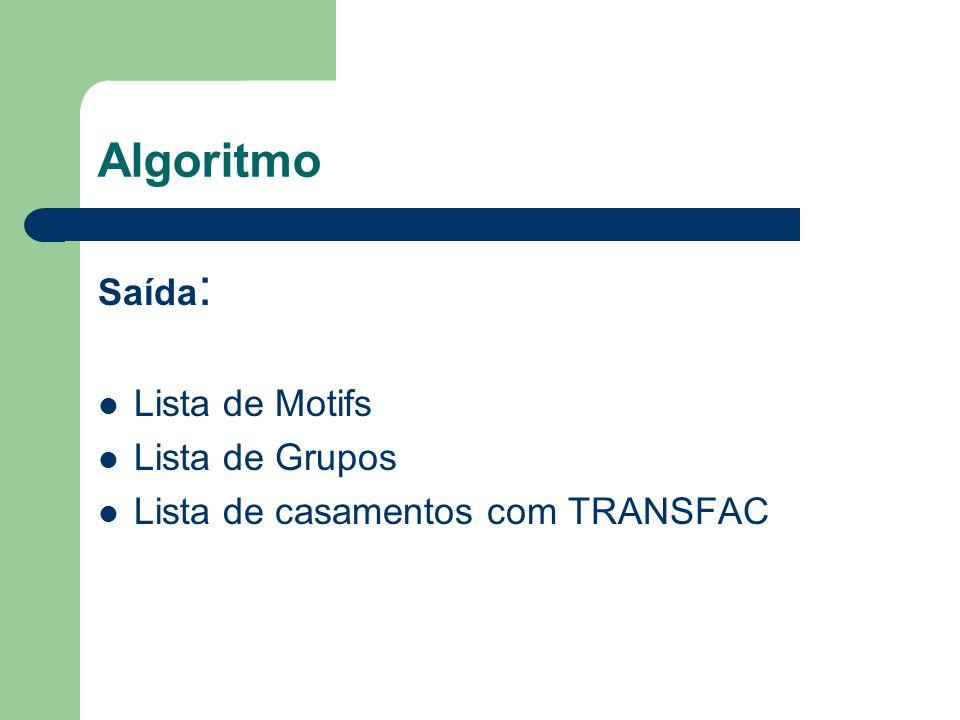 Algoritmo Saída : Lista de Motifs Lista de Grupos Lista de casamentos com TRANSFAC