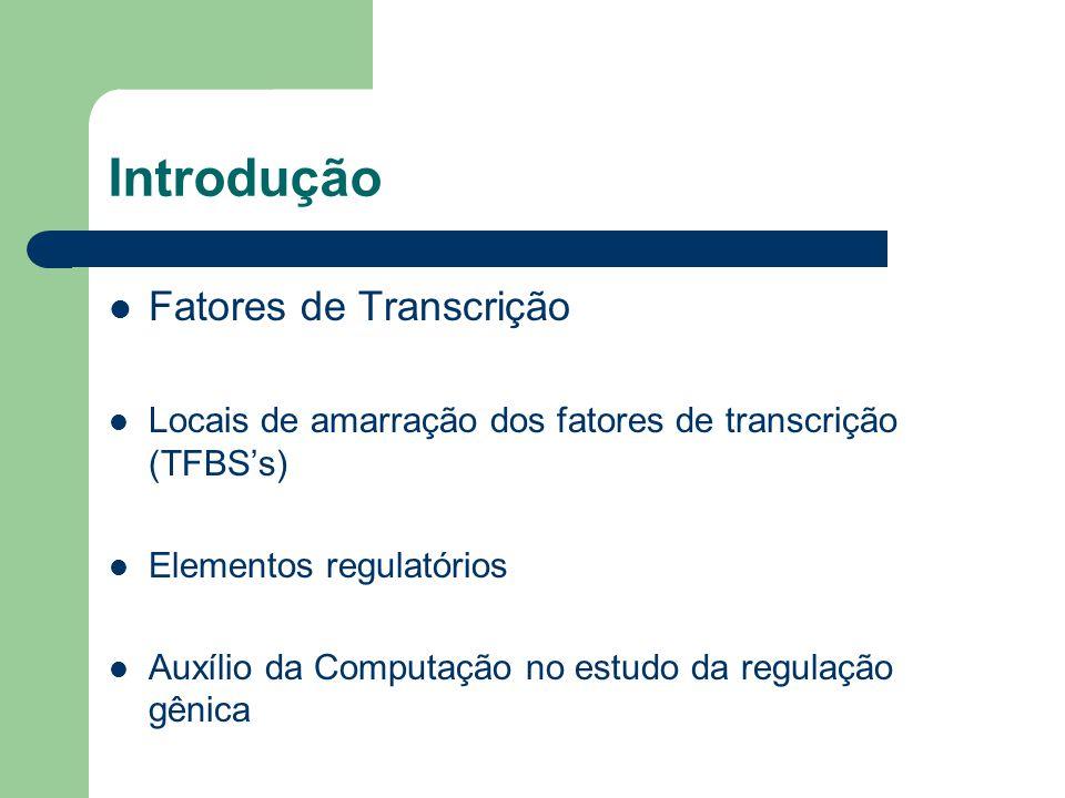 Introdução Fatores de Transcrição Locais de amarração dos fatores de transcrição (TFBS's) Elementos regulatórios Auxílio da Computação no estudo da regulação gênica