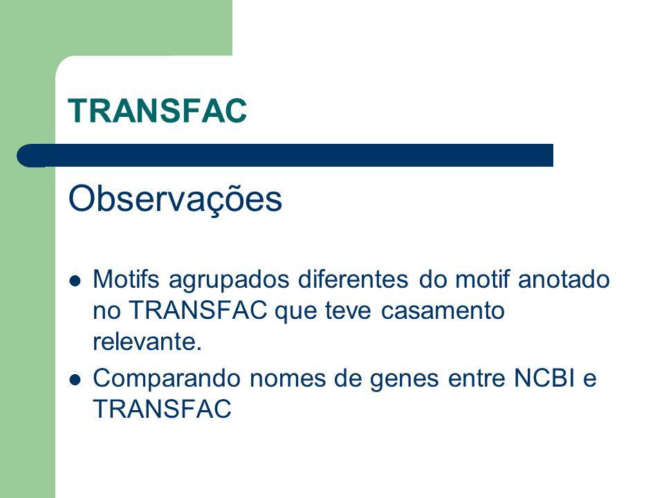 TRANSFAC Observações Motifs agrupados diferentes do motif anotado no TRANSFAC que teve casamento relevante.