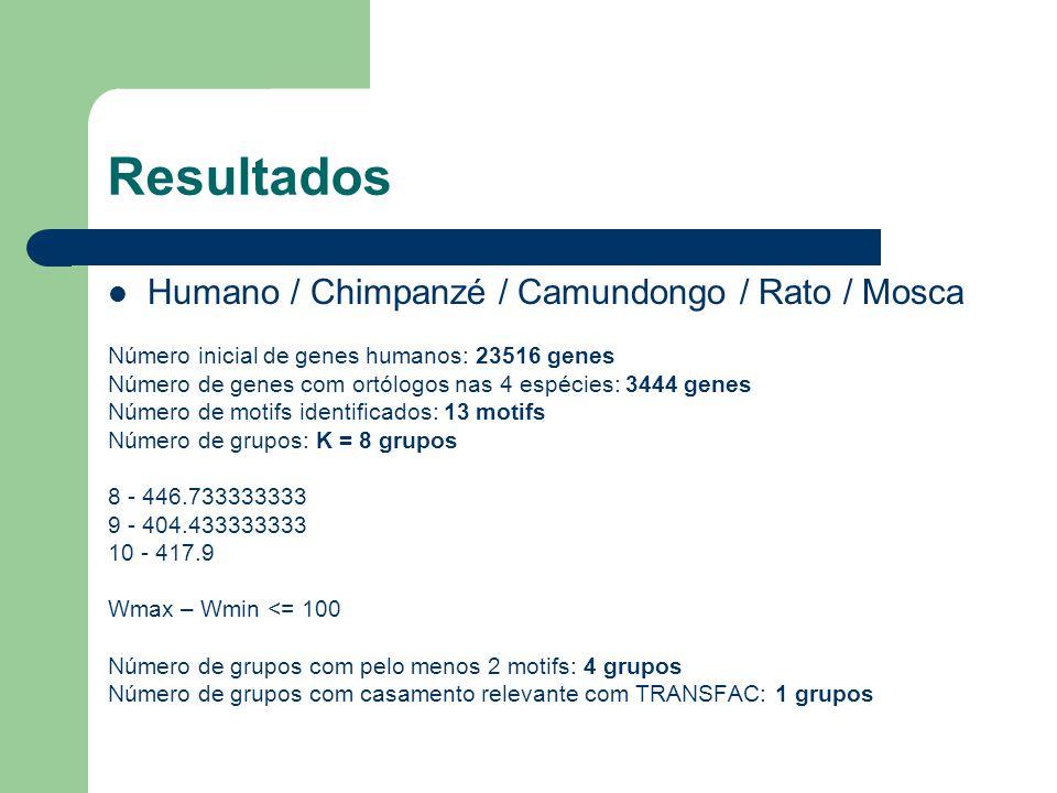 Resultados Humano / Chimpanzé / Camundongo / Rato / Mosca Número inicial de genes humanos: 23516 genes Número de genes com ortólogos nas 4 espécies: 3444 genes Número de motifs identificados: 13 motifs Número de grupos: K = 8 grupos 8 - 446.733333333 9 - 404.433333333 10 - 417.9 Wmax – Wmin <= 100 Número de grupos com pelo menos 2 motifs: 4 grupos Número de grupos com casamento relevante com TRANSFAC: 1 grupos