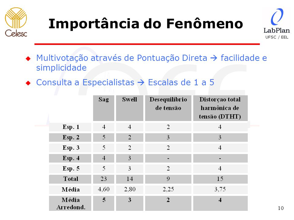 UFSC / EEL 10 Importância do Fenômeno u Multivotação através de Pontuação Direta  facilidade e simplicidade u Consulta a Especialistas  Escalas de 1 a 5
