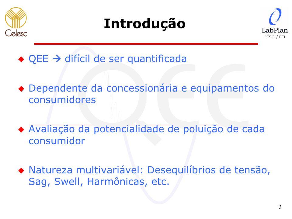 UFSC / EEL 3 u QEE  difícil de ser quantificada u Dependente da concessionária e equipamentos do consumidores u Avaliação da potencialidade de poluição de cada consumidor u Natureza multivariável: Desequilíbrios de tensão, Sag, Swell, Harmônicas, etc.