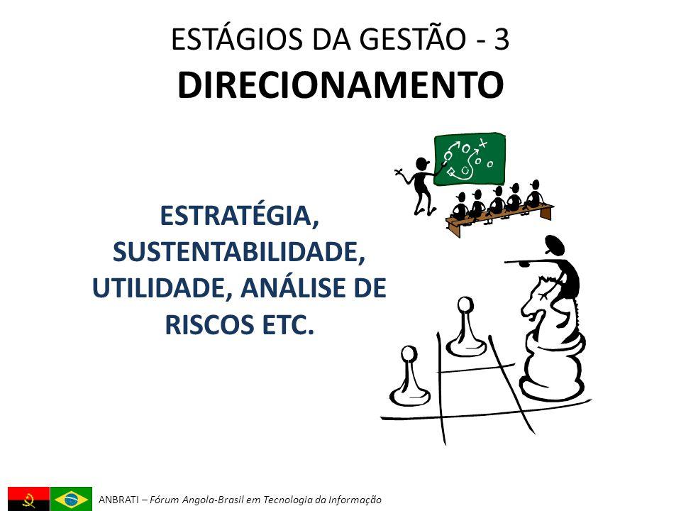 ANBRATI – Fórum Angola-Brasil em Tecnologia da Informação ESTÁGIOS DA GESTÃO - 3 DIRECIONAMENTO ESTRATÉGIA, SUSTENTABILIDADE, UTILIDADE, ANÁLISE DE RISCOS ETC.