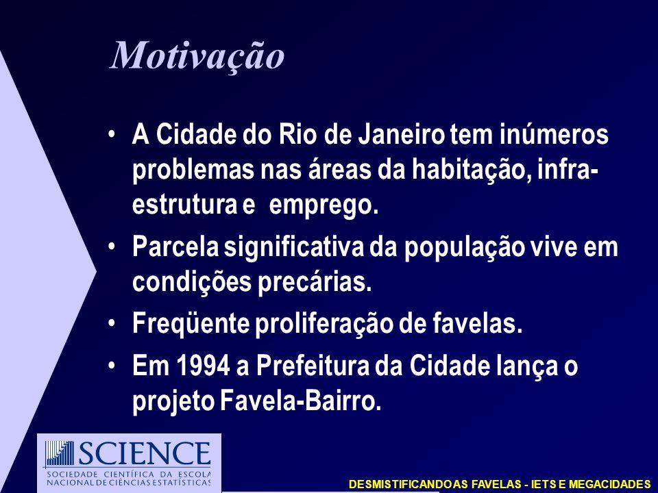 Motivação A Cidade do Rio de Janeiro tem inúmeros problemas nas áreas da habitação, infra- estrutura e emprego.