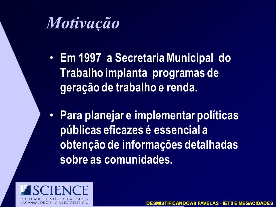 DESMISTIFICANDO AS FAVELAS - IETS E MEGACIDADES Motivação Em 1997 a Secretaria Municipal do Trabalho implanta programas de geração de trabalho e renda.