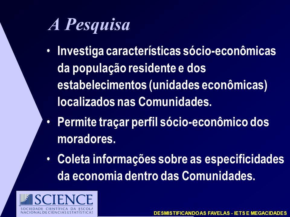 DESMISTIFICANDO AS FAVELAS - IETS E MEGACIDADES A Pesquisa Investiga características sócio-econômicas da população residente e dos estabelecimentos (unidades econômicas) localizados nas Comunidades.