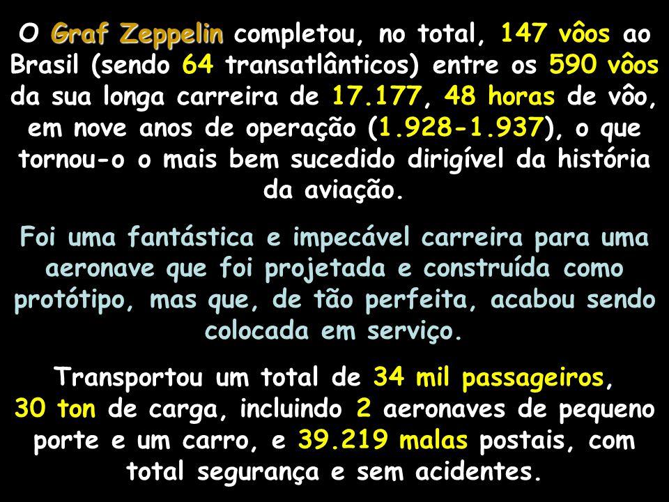 Graf Zeppelin Graf Zeppelin A grande maioria dos vôos do Graf Zeppelin para o Brasil foi comandada por Hugo Eckener.