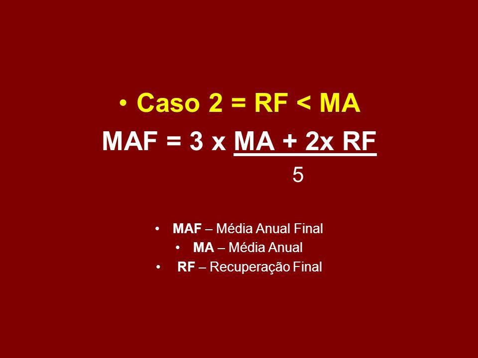 Caso 2 = RF < MA MAF = 3 x MA + 2x RF 5 MAF – Média Anual Final MA – Média Anual RF – Recuperação Final