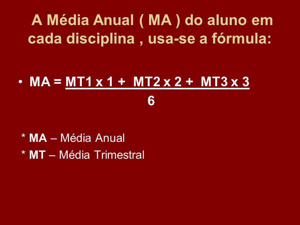A Média Anual ( MA ) do aluno em cada disciplina, usa-se a fórmula: MA = MT1 x 1 + MT2 x 2 + MT3 x 3 6 * MA – Média Anual * MT – Média Trimestral