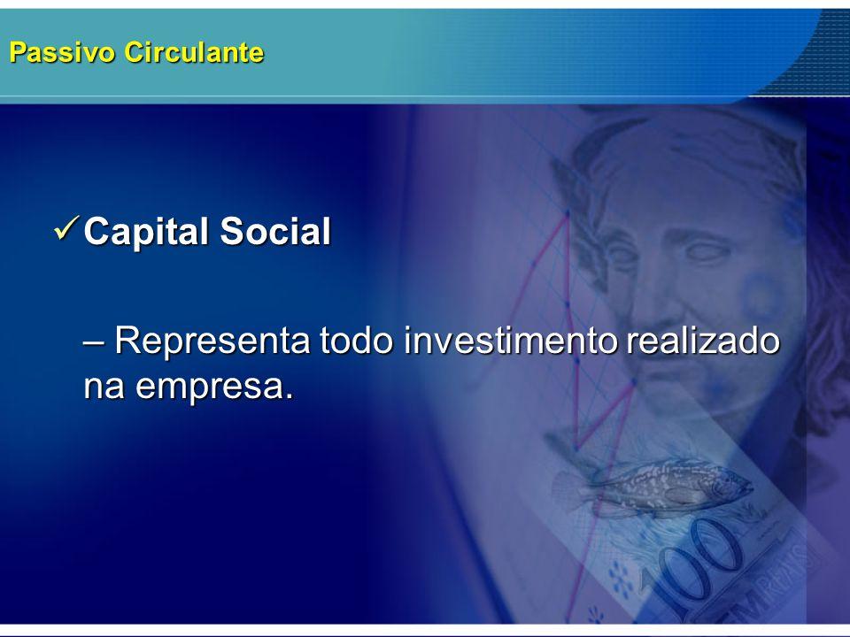 Passivo Circulante Capital Social Capital Social – Representa todo investimento realizado na empresa.
