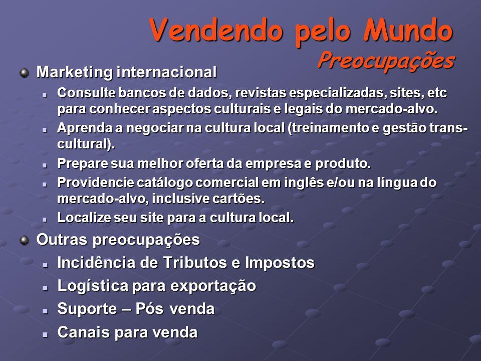 Marketing internacional Consulte bancos de dados, revistas especializadas, sites, etc para conhecer aspectos culturais e legais do mercado-alvo.