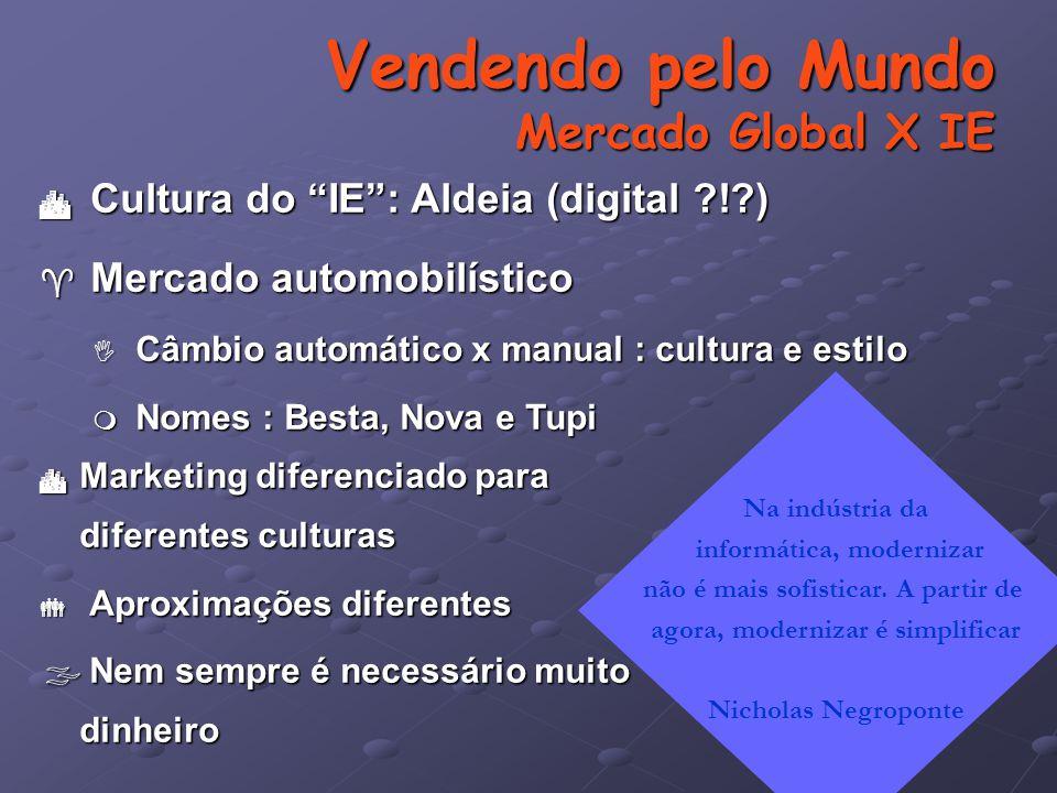 Vendendo pelo Mundo Mercado Global X IE  Marketing diferenciado para diferentes culturas  Aproximações diferentes  Nem sempre é necessário muito dinheiro Na indústria da informática, modernizar não é mais sofisticar.