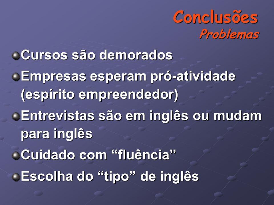 Cursos são demorados Empresas esperam pró-atividade (espírito empreendedor) Entrevistas são em inglês ou mudam para inglês Cuidado com fluência Escolha do tipo de inglês Conclusões Problemas