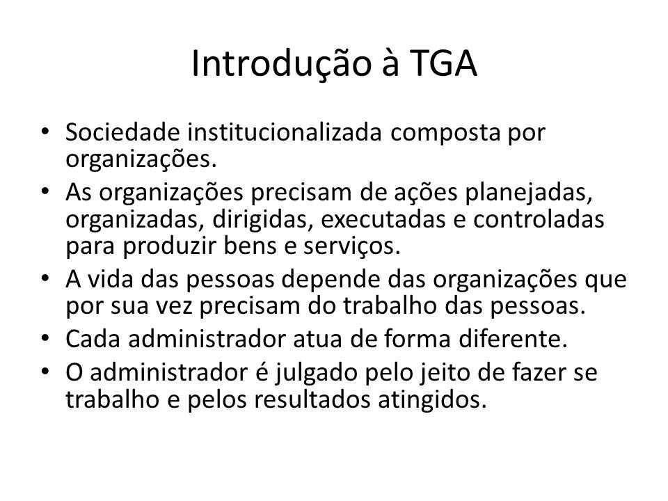 Introdução à TGA Sociedade institucionalizada composta por organizações.