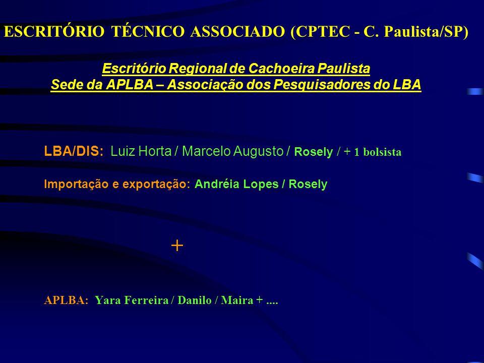 ESCRITÓRIO TÉCNICO ASSOCIADO (CPTEC - C. Paulista/SP) Escritório Regional de Cachoeira Paulista Sede da APLBA – Associação dos Pesquisadores do LBA LB