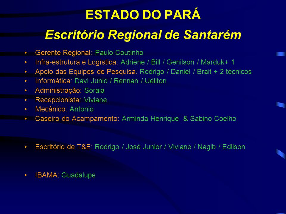 ESTADO DO PARÁ Escritório Regional de Santarém Gerente Regional: Paulo Coutinho Infra-estrutura e Logística: Adriene / Bill / Genilson / Marduk+ 1 Apo