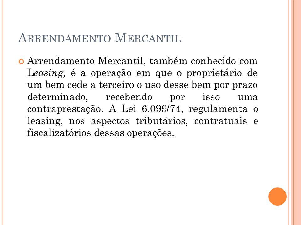 A RRENDAMENTO M ERCANTIL Conceito: Considera-se arrendamento mercantil o negócio jurídico realizado entre pessoa jurídica, na qualidade de arrendadora, e pessoa física ou jurídica, na qualidade de arrendatária, e que tenha por objeto o arrendamento de bens adquiridos pela arrendadora, segundo especificações da arrendatária e para uso próprio desta ( Parágrafo único do artigo 1º da Lei 6.099/74)