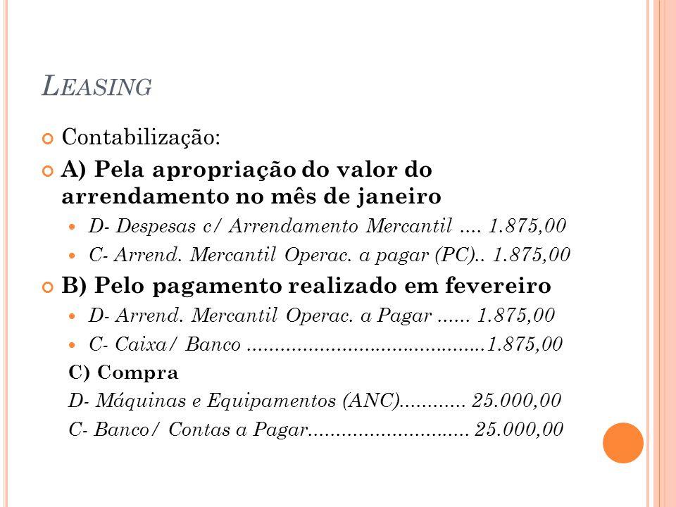 L EASING Contabilização: A) Pela apropriação do valor do arrendamento no mês de janeiro D- Despesas c/ Arrendamento Mercantil....