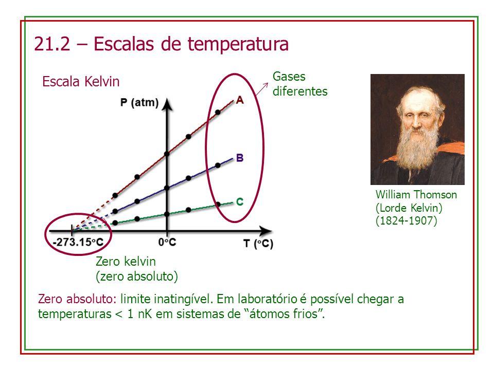 21.2 – Escalas de temperatura Escala Kelvin William Thomson (Lorde Kelvin) (1824-1907) Gases diferentes Zero kelvin (zero absoluto) Zero absoluto: limite inatingível.