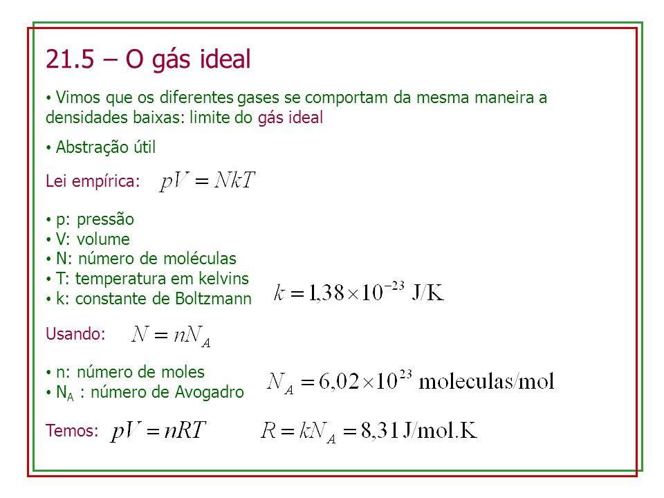 21.5 – O gás ideal Vimos que os diferentes gases se comportam da mesma maneira a densidades baixas: limite do gás ideal Abstração útil Lei empírica: p: pressão V: volume N: número de moléculas T: temperatura em kelvins k: constante de Boltzmann Usando: n: número de moles N A : número de Avogadro Temos: