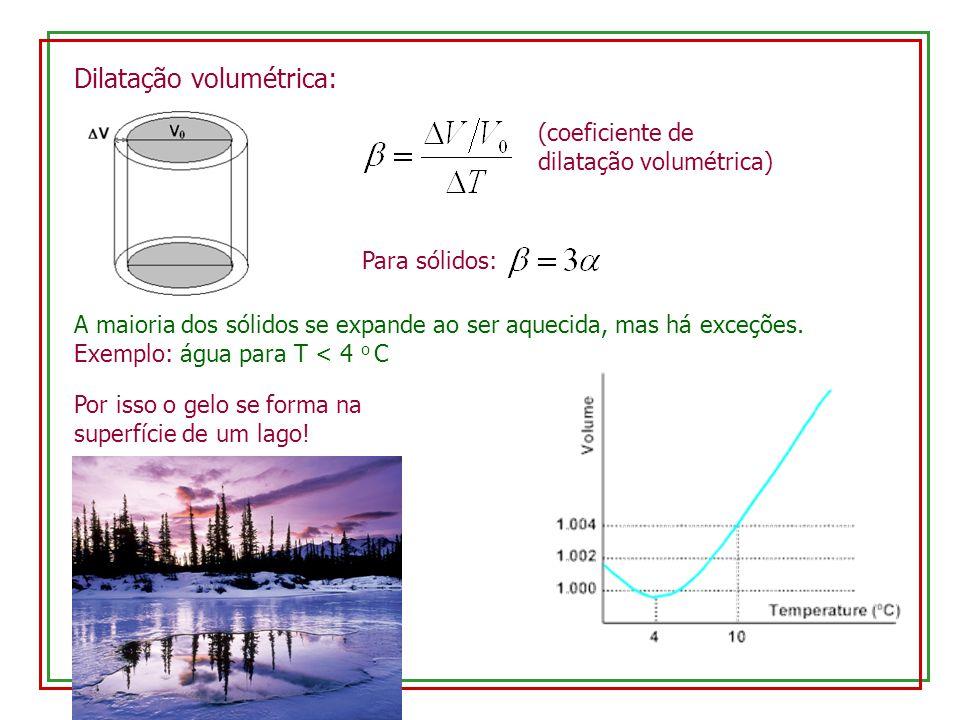 Dilatação volumétrica: A maioria dos sólidos se expande ao ser aquecida, mas há exceções.