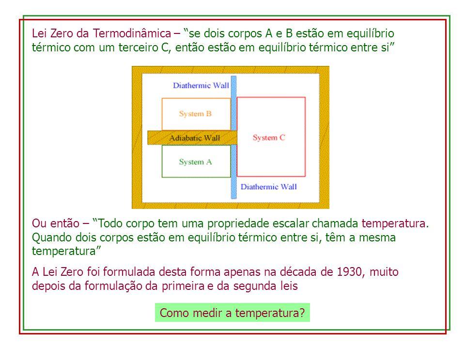 Lei Zero da Termodinâmica – se dois corpos A e B estão em equilíbrio térmico com um terceiro C, então estão em equilíbrio térmico entre si Ou então – Todo corpo tem uma propriedade escalar chamada temperatura.