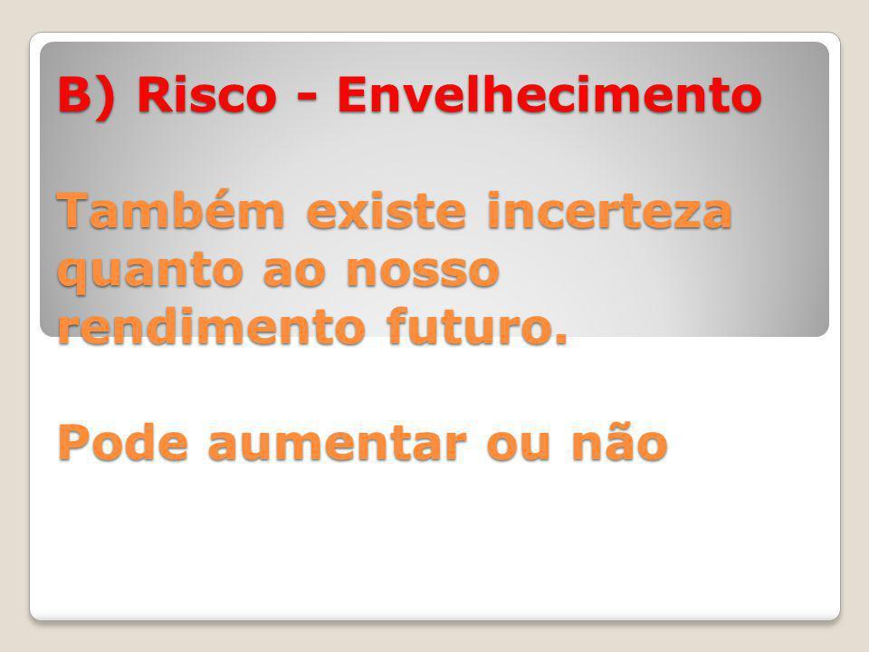 B) Risco - Envelhecimento Também existe incerteza quanto ao nosso rendimento futuro.