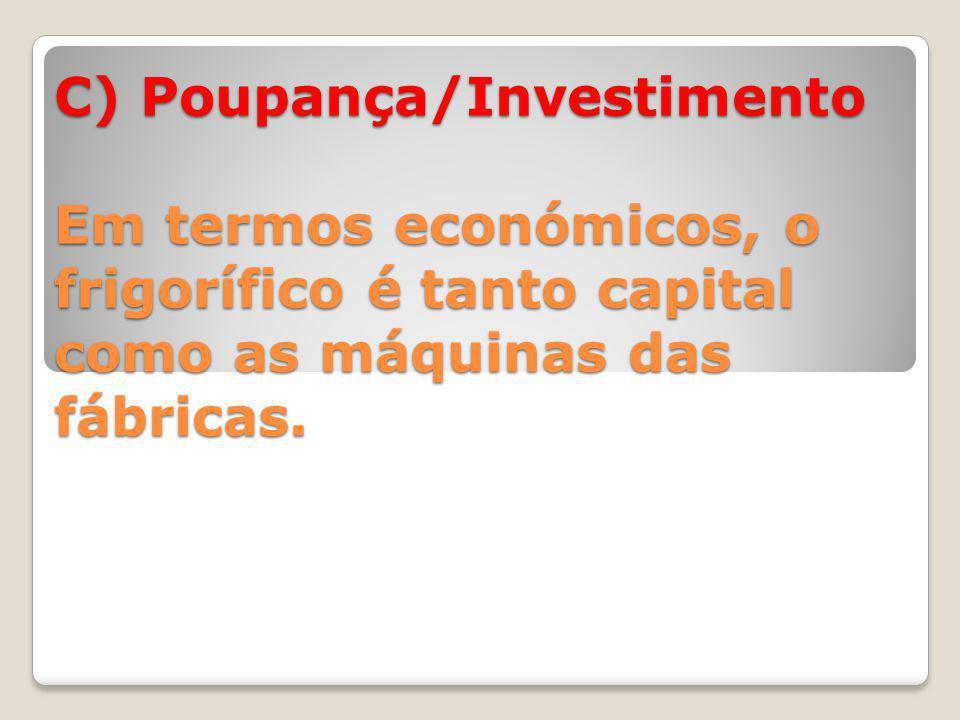 C) Poupança/Investimento Em termos económicos, o frigorífico é tanto capital como as máquinas das fábricas.